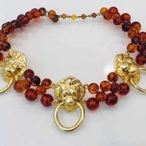 Vtg Lions Head Choker with Faux Tortoise Beads